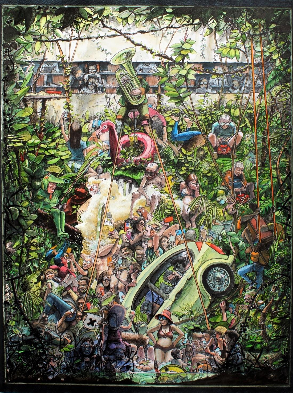 "2021 ""Farmzucht"" Ink, Watercolor, Acrylic on paper 48 x 38 cm"